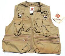Mens Vintage COLUMBIA Tan Photographer Zip 14 Pocket Fishing Vest Medium USA