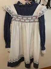 Vintage Princess Anne Hand Smocked Long Sleeves Dress Girls 6X~~~E4