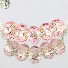 Crystal Light pink 5pcs MURANO glass bead LAMPWORK fit European Charm Bracelet