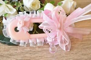 Diaper Pin Dummy Pink Girl Baby Shower Pin Badge Award Brooch Favors