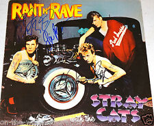 STRAY CATS HAND SIGNED AUTOGRAPHED RANT N' RAVE ALBUM BY 3! WITH PROOF + C.O.A.!