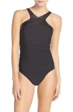 NWT Magicsuit 'Bonnie' Faux Leather Neck One-Piece Swimsuit Black Size 16