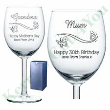 Personalised Engraved Wine Glass Birthday Mother's Day Gift Mum Mummy Mom Mother