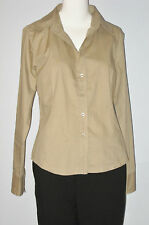 Isaac Mizrahi Size L Brown Button-Down Long Sleeve Shirt