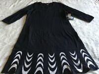 Nine West Black White design 3/4th Sleeve Sweater Dress SIZE XL NEW