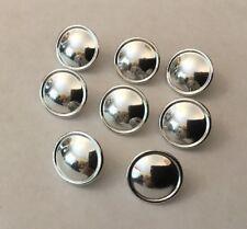 Vtg Gaunt 8 X 15mm SIlver Chrome Dome Domed Plain Buttons Blazer Livery