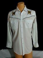 Vtg Men ELY Diamond White Western Shirt Top Buffalo Embroidery Cowboy Sna M
