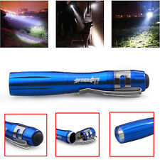 12000LM Power Torch Q5 LED Tactical Flashlight AAA Battery Clip Lamp Light Blue