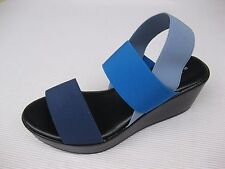 Bartolini Womens Shoes $50 Liona Blue Multi Stretch Fabric Sandal Wedge Italy 10
