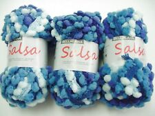 Effekt Strickgarn Netzgarn Carmen Wolle 8 x 50g blau mit Pompon-Borte