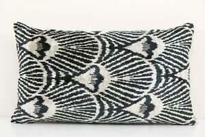 Geometric Design Ikat Velvet Pillow - Black Ethnic Silk Cushion Cover