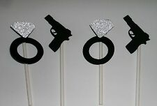 Hand Crafted 12 Cupcake Toppers Bachelorette / Guns and Glitter (246C)