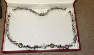 Vintage Aurora Borealis Necklace Signed Exquisite
