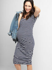 NWT: GAP MATERNITY Navy w/ White Stripes Ruched Short Sleeve T-Shirt Dress, XS