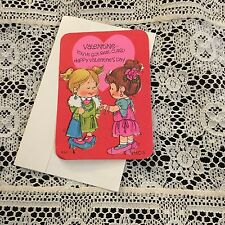 Vintage Greeting Card Valentine Friends Playing Dress-up Girls