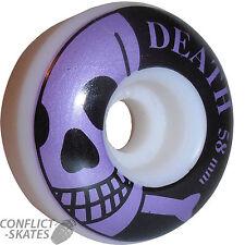 "DEATH ""Skull"" Skateboard Wheels 58mm 101a Park Pool Ramp White / Purple UK"