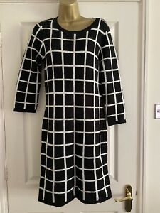 Next Ladies Jumper Dress Size 10 Black White Check, Part Mohair/wool