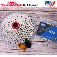 SUNRACE 8/9/10/11S MTB Bike Cassette Aluminum KMC Chain 11-40/42/46T Sprocket
