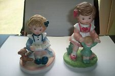 "2 Homco ""Sisters at Play"" Figurine #1440 Pair of figurines w Gold Sticker Vgc"