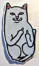Katze mit Mittelfinger Aufbügler /  Aufnäher Cat Middle Finger Patch Punk Kitty