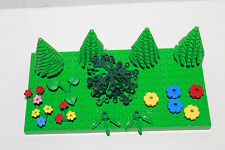 Lego Vintage Town House City Trees & Red Blue Yellow Flowers Garden Scenery Park