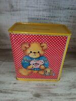 Adorable Vintage Enesco Metal Tin Teddy Bear w/ Piggy Bank Box