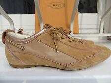 TOD'S+Sneakers+beige/metallic+Velours+Noppensohle+Gr.39+1 x getr.+neuw.+NP 375 €