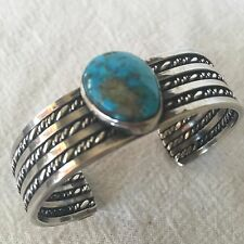 Vintage NAVAJO Sterling & TURQUOISE Cuff BRACELET Wide Twisted Silver Band, 43g