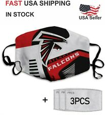 NFL Football Team Atlanta Falcons Washable Reusable Face Mask And 3 Filters!