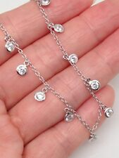 Sterling Silver 925 Cz Station Dangle Charm Necklace 3.5mm 18""