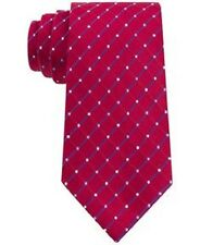 $100 GEOFFREY BEENE Men`s RED BLUE CHECK DOT TIE CLASSIC SLIM NECKTIE 60X3.25