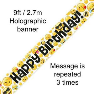 9ft Foil Banner - Happy Birthday - Emoji Smiley Face Design