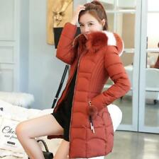 Women Medium-long Style Faux Fur Collar Hooded Thicken Slim Fit Warm Coat Jacket