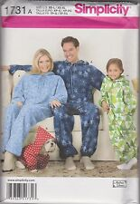 Sewing pattern Childs,Teens, Adults Fleece Jumpsuit, Dog Coat Size XS - XL #1731