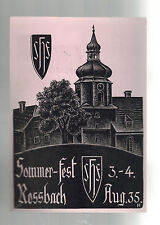 1938 Rossbach Germany Sudetenland Provisional Postcard Cover