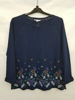 White Stuff Ladies top 3/4 sleeves blue cotton embroidered floral size 10 02