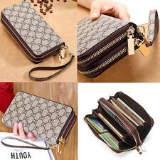 Double Zipper Long Clutch Wallet Cellphone Wallet with Hand Strap for Women Men