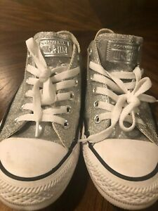 Converse All Star Chuck Taylor Silver Metallic Sneakers US 7 Euro 37.5 EUC