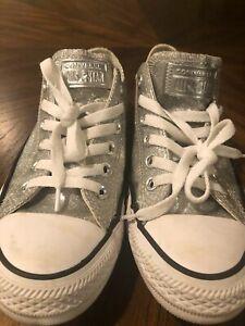 Converse All Star Chuck Taylor Silver Metallic Sneakers US 7 Euro 37.5 EUC