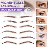Reusable High Quality false 100% Human Hair Lace Base Eyebrows Wig Brown Blonde