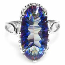10ct Fabulous Luxury Genuine Blue Rainbow Topaz & Sterling Silver Ring Size 6