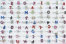 Wholesale lots jewelry 10pcs Full Rhinestone Silver Tone Letter Woman Ring FREE