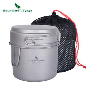 Titanium Pot Pan set with Folding Handles Outdoor Camping Picnic Cooking Set