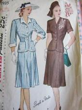 VINTAGE SIMPLICITY SEWING PATTERN SZ 20 1/2 BUST 39 TWO PIECE DRESS SKIRT JACKET