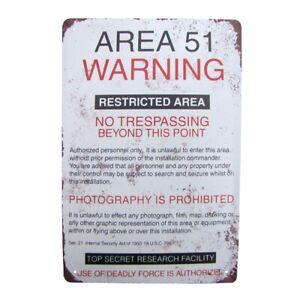 Metal Area 51 Warning No Trespassing Sign Tin Garage Man Cave Bar Pub Wall Decor