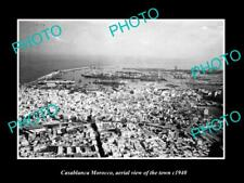 Old Large Historic Photo Casablanca Morocco, Aerial View Of The Town c1940
