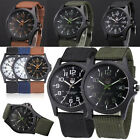 Mens Date Canvas Stainless Steel Watch Military Sport Quartz Wrist Watch
