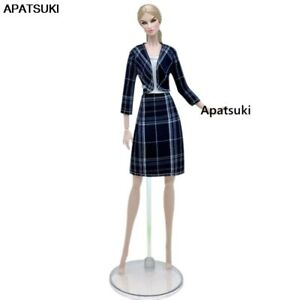 """Black Plaid Coat Dress Fashion Doll Clothes For 11.5"""" Doll Outfits Set 1/6 Toys"""