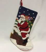 """Christmas Stocking Tapestry Santa On Chimney For Mantel 19"""" Lined"""