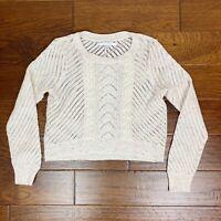 LC Lauren Conrad Crop Sweater Small Ivory Cream Crew Neck Pullover Long Sleeve